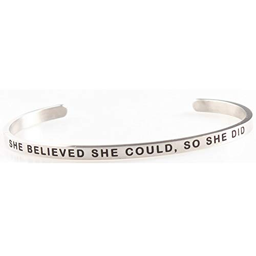 Jude Jewelers Stackable Stainless Steel Inspiration Mantra Cuff Bangle Bracelet Graduation Gift (She Believed She Could So She Did)
