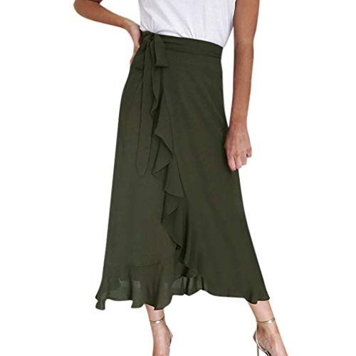 WJSU Falda de Mujer de Cintura Alta con Volantes Falda Larga a Media Pierna Swing Vestido de Verano S, M, L, XL