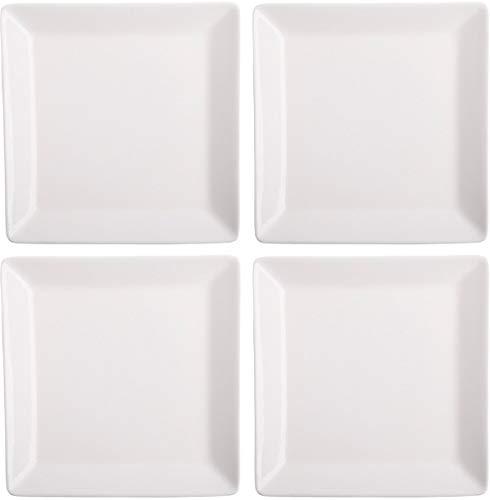 Home Essentials 15281 Fiddle and Heln - Juego de 4 platos cuadrados de 5 pulgadas, color blanco