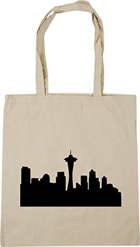 HippoWarehouse Seattle skyline Tote Shopping Gym Beach Bag 42cm x38cm, 10 litres
