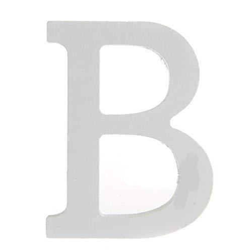 BIGBOBA Lettre de Bois Décoration 26 Lettres Blanches Lettre de Décoration DIY Nom de la Lettre Anniversaire Fête de Mariage Chambre à Coucher Décoration de la Maison (B)