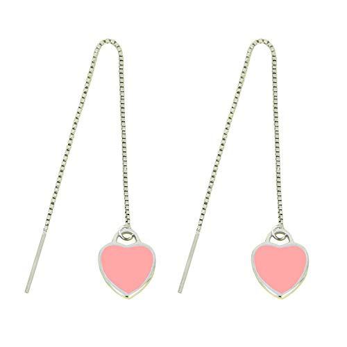 Top Trendy Pink Love Herz 925 versilbert lange Kette Durchziehhilfe Quaste baumeln Ohrringe