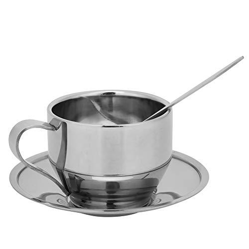 Juego de tazas de café de acero inoxidable con cuchara y platillo a juego para el hogar