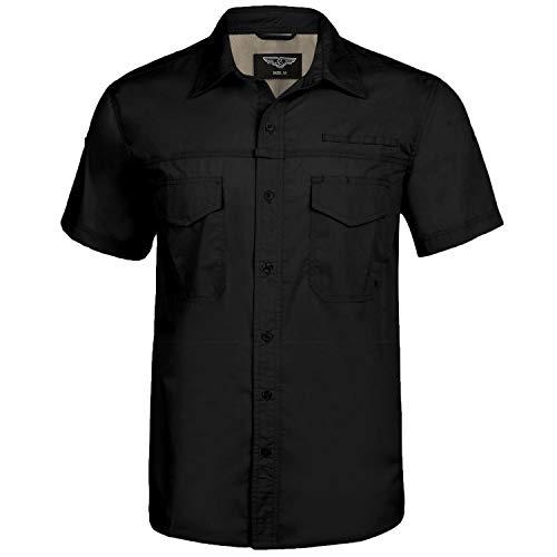 iClosam Herren Hemd Kurzarm Outdoor Hemd, Schwarz, XL
