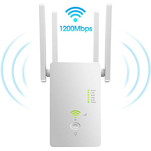 Wireless-AC Repeater for Home and Office WiFi Boosters Built-in Access Point Mode High-Speeded Dual Band Multiple Encryption 1200 Mbps Wireless Router