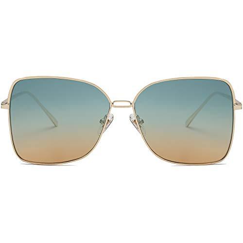 SOJOS ファッションスクエアアビエーターサングラス レディース フラットミラーレンズ SJ1082 US サイズ: Oversized カラー: ゴールド