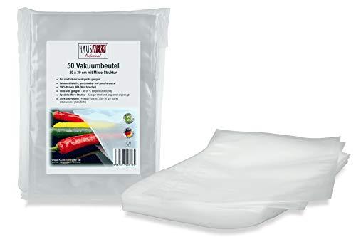 """Vakuumbeutel von HAUSWERK für Lebensmittel -\""""Made in Germany\"""" (50 Btl. 20x30cm – Sous-vide) Profi-Qualität für alle Folienschweißgeräte"""