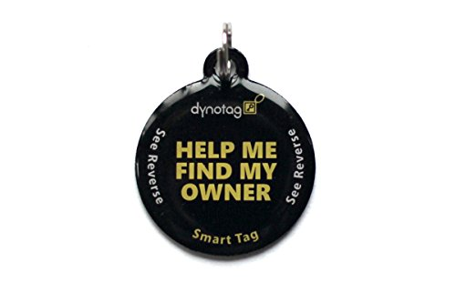 Dynotag Web Enabled Smart Round Coated Metal ID Tag and Ring. Pet Tag, Property Tag - Multiple Uses, with DynoIQ & Lifetime Recovery Service.