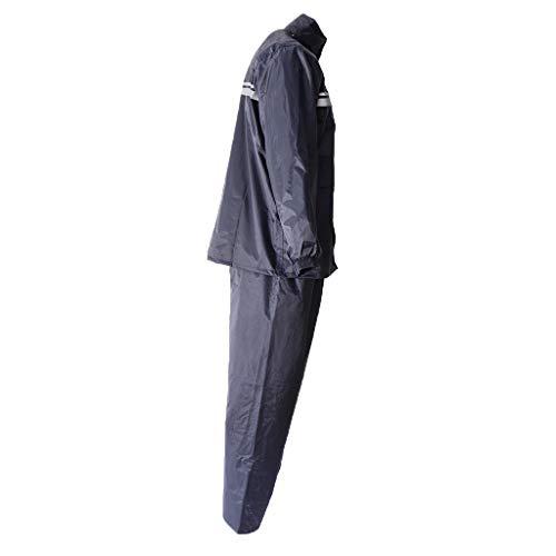 Générique Baoblaze Vestes Coupe-pluie Imperméable Moto Pluie Costume Unisexe avec Bandes Réfléchissantes pour Assurer Sécurité Nuit - gris, XL
