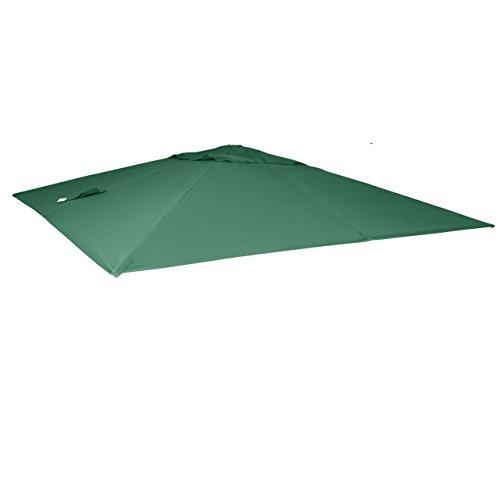 Mendler Bezug für Luxus-Ampelschirm HWC-A96, Sonnenschirmbezug Ersatzbezug, 3x3m (Ø4,24m) Polyester 2,7kg - dunkelgrün