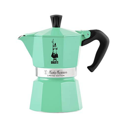 Bialetti Moka Express - Cafetera de aluminio ICE, 3 tazas, verde hielo