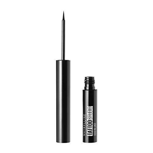 Maybelline New York Tattoo Studio Liquid Ink Eyeliner Makeup, up to 36HR Wear, Sweat Resistant, Smudge Resistant, Ink Black, 0.08 Fl.Oz