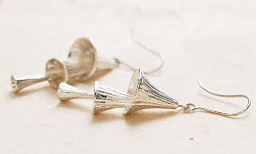 Jewell Ray Silver Chime Bell Dangle Drop Earrings