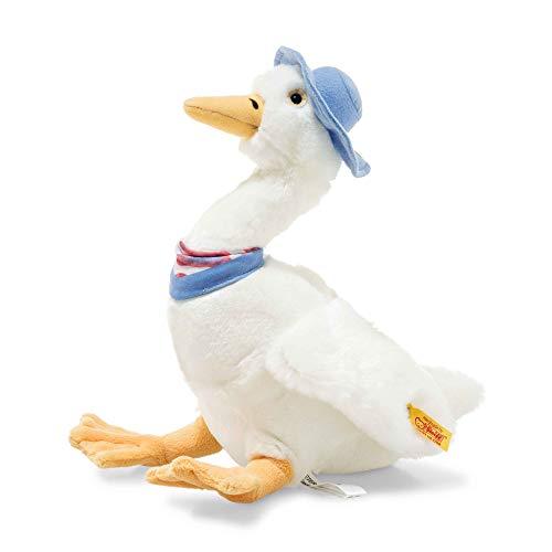 """Steiff 355271 Original Plüschtier Gans Jemima Puddle Duck, Kuscheltier ca. 27 cm, Markenplüsch Knopf im Ohr"""", Schmusefreund für Babys von Geburt an, weiß"""
