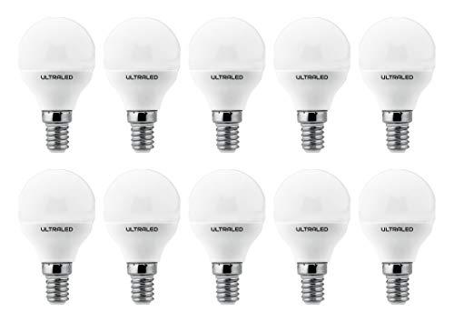 ULTRALED SET di 10 LAMPADINE LED SFERA P45, Attacco E14, LUCE NATURALE 4000K 5W 360 Lumen