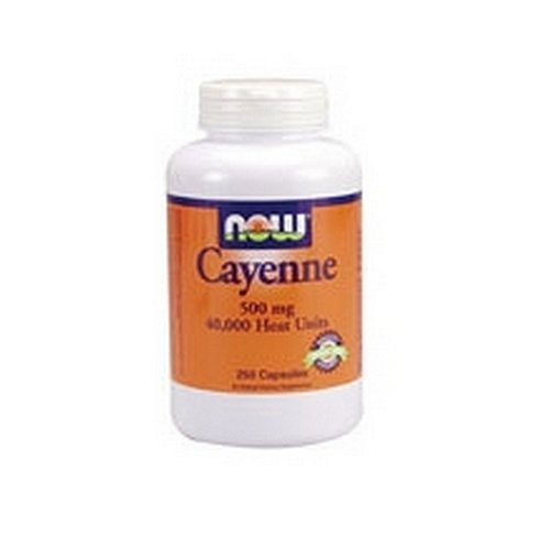 NOW Cayenne, 500mg, 250 Capsules, (Pack of 2)