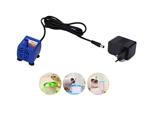 Ofanyia Bomba de Fuente Cat + Adaptador de Potencia, Bomba de Agua Sumergible para Fuente para Mascotas, Bomba de Repuesto Fuente de Fuente para la mayoría Fuentes Cat 1.6L 2.0L 2.5L