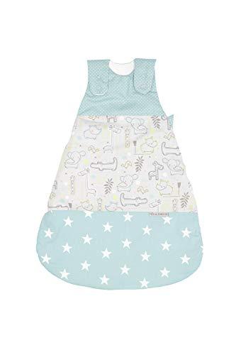 ULLENBOOM Saco de dormir para bebé sin mangas | Forro de invierno y verano para recién nacido | 0-4 meses | Certificado | safari menta