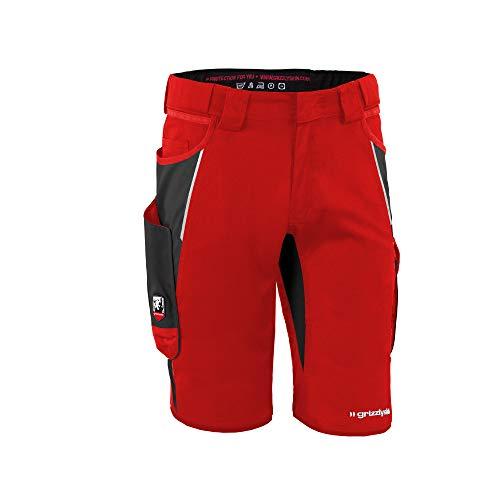 Grizzlyskin Arbeitsshorts Rot/Schwarz N44 - Unisex Workwear Kurze Arbeitshose für Männer und Damen, Cordura Schutzhose
