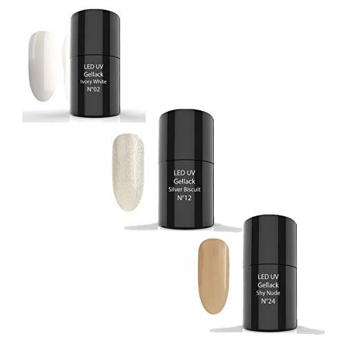 LED UV Gellack Set 3 x 6ml - UV Nagellack, UV Lack, Gellack (SET 11-1x N°02 Ivory White - 1x N°12...