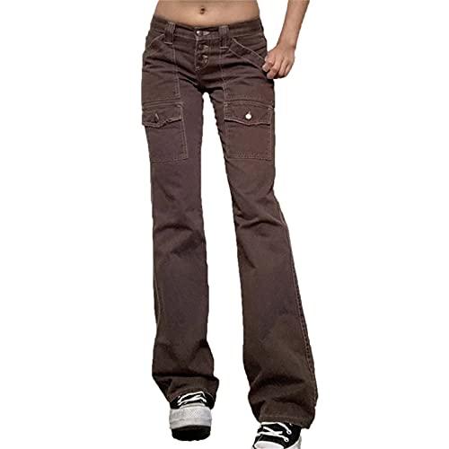 Pantalones vaqueros cargo para mujer, estilo retro, de cintura baja, pantalones vaqueros preppy Streetwear con bolsillos múltiples, 5, S