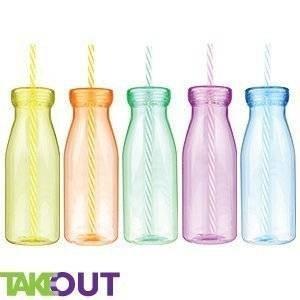 Milkshake flessen 5 x BPA Gratis Grote Milkshake Smoothie flessen met deksels en herbruikbare harde plastic rietjes, Smoothies, Slushies, ijskoude dranken, cocktails