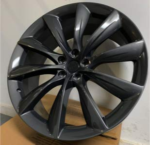 New 22 inch Wheel Rims Turbine Style Staggered Gunmetal Compatible With Tesla Model X P85D P100D Set Of 4