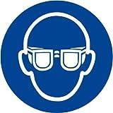 Etichetta adesiva pittogramma segnale di obbligo'Obbligatorio indossare la protezione degli occhi' - OR004-10 per confezione (50x50mm)