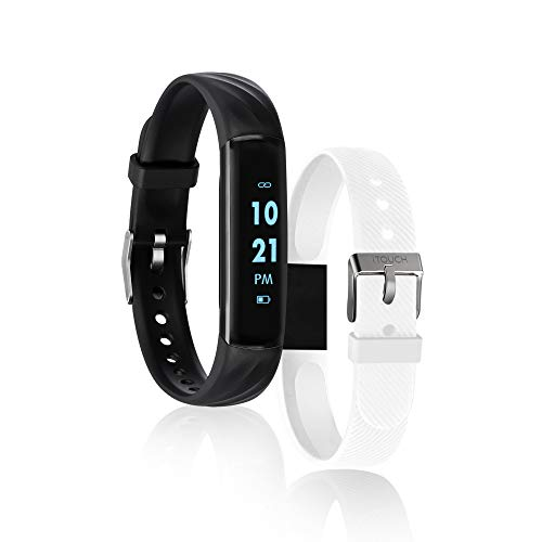 iTouch Slim Fitness Tracker with Heart Rate Monitor, Step Tracker, Calorie Tracker & Sleep Tracker. Waterproof Fitness Watch for Women & Men, Android & iOS, Black/White Interchangeable Straps