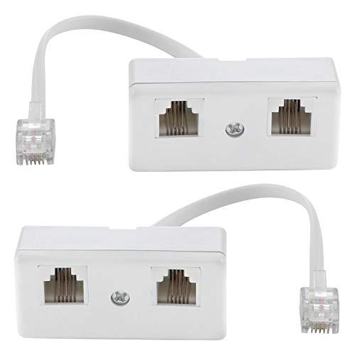 Zwei-Wege-Telefonsteckdosen-Adapter Splitter Kabel RJ11 6P4C Telefonwandadapter und Trenner Stecker auf 2 Buchsen Konverter für Festnetz (weiß, 2 Stück)