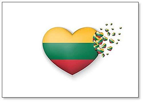 Kühlschrankmagnet Nationalflagge Litauen in Herz-Illustration