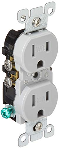 Leviton W5320-T0G 15 Amp, 125 Volt, Weather and Tamper Resistant, Duplex Receptacle, Grounding, Side and Quickwire, Gray