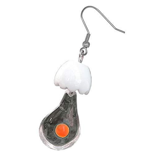 (E) ファッションピアス おもしろピアス フックピアス 割れた卵が出てる ステンレスピアス 1個販売 シングルピアス 片耳用 コスプレ ハロウィン 食品サンプル 食玩 チャーム ゆれる