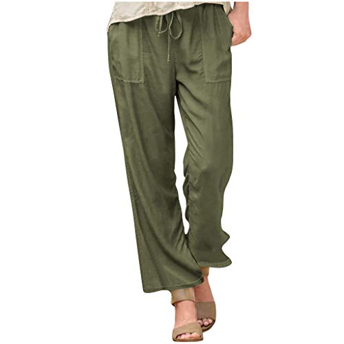 Buyao Women's Cotton Linen Pants Cropped Wide Leg Elastic Waist Ankle Solid Color Trousers with Pockets Army Green