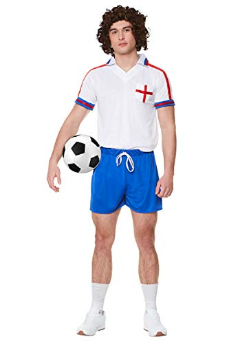 Adults 1980s Football Player Costume in 3 Sizes for Adults, Includes shirt and shorts.