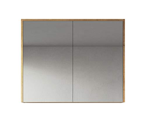 Badplaats B.V. Spiegelschrank Cuba 90cm F. Eiche - Schrank Spiegelschrank Spiegel Badezimmer Badmöbel Set Hängeschrank