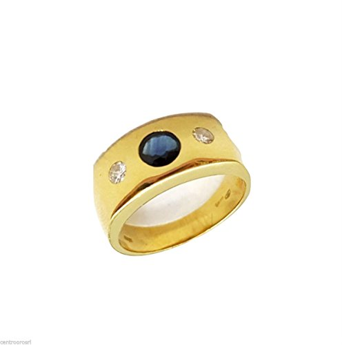 Anello UOMO in Oro 18kt con Zaffiro 0,50CT e Diamanti 0,10ct G H VVS