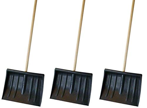 3x Shovel 1.2m Snow Pusher Scooper Mucking Out Garden Car Spade Winter Metal 120cm Steel Digging Building Patio Durable Strong Heavy Duty