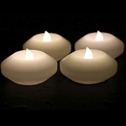 ARDUX Christmas LED Floating Candles, 3-inch Wax Waterproof Candle Tealight Night Light Flameless Candle with Battery-Powered for Wedding Party Decoration (Pack of 4)