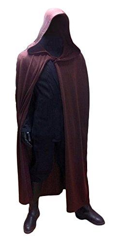 Jedi-Robe - Men's Costume Replica Sleeveless Robe Dark Brown - Compatible with Luke Skywalker Costume