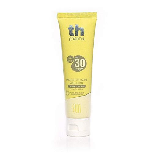 TH Pharma Protector Solar Facial Sun/Crema Protectora Facial con Efecto Antiedad para Rostro y Escote, Toque seco-mate, F.P.S 30, 50 ml