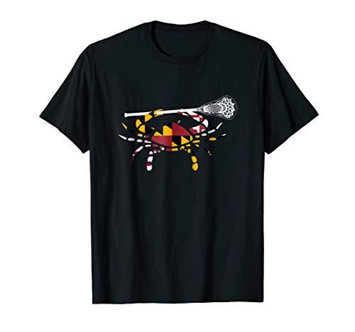 Maryland Crab Holding Lacrosse Stick Boys Girls LAX Shirt