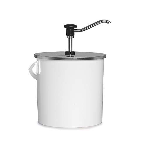 GASTROBACK Edelstahl Druckknopfdosierspender 5 Liter, komplett mit Kunststoff-Eimer, mit rostfreiem Auslauf, Dispenser, Ketchup-, Mayonaise-, Senf-Spender, Saucenspender