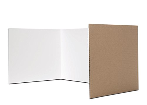 Flipside Products Flipside Corrugated Privacy Shield, White, 18' x 48', Pack of 24