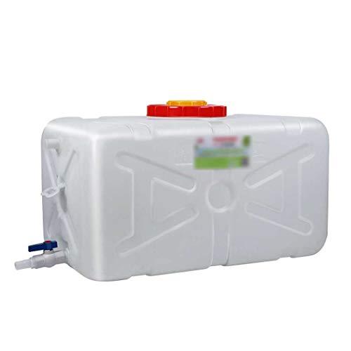 Contenedor de Agua Depósito de Agua con Grifo, Recipiente de Almacenamiento de Agua Horizontal de Plástico Grueso, Cubo de Almacenamiento, Ideal para Campamento Senderismo Pícnic Coches de Viaje, Blan