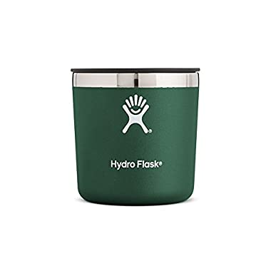 Hydro Flask 10 oz Double Wall Vacuum Insulated Stainless Steel Whiskey Rocks Glass with BPA Free Press-In Lid, Sage