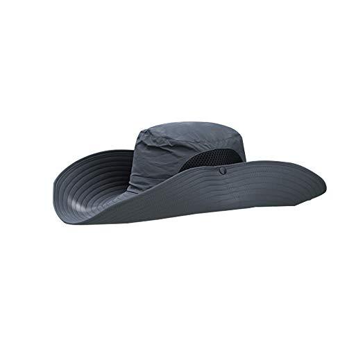 Hoypeyfiy Sombrero de sol para hombres y mujeres, sombrero de verano de ala ancha, protección UV, sombrero de playa impermeable con correa ajustable para la barbilla y malla transpirable, color gris