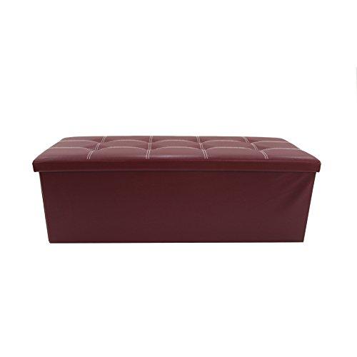 Rebecca Mobili Puff contenedor, asiento para almacenar, burdeos, cuero sintético, ahorra espacio - Medidas: 37 x 110 x 38 cm ( AxANxF) - Art. RE6159