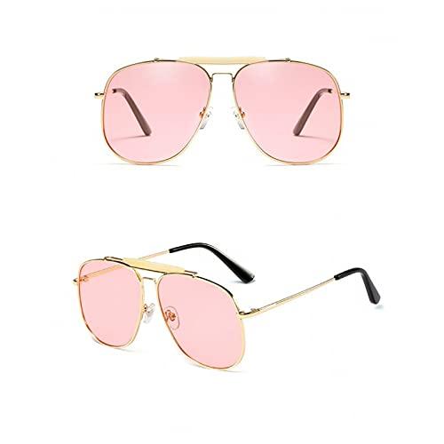 SXRAI Gafas de Sol cuadradas de Moda para Mujer, Gafas de Gran tamaño para Hombre, Gafas de Metal,C2
