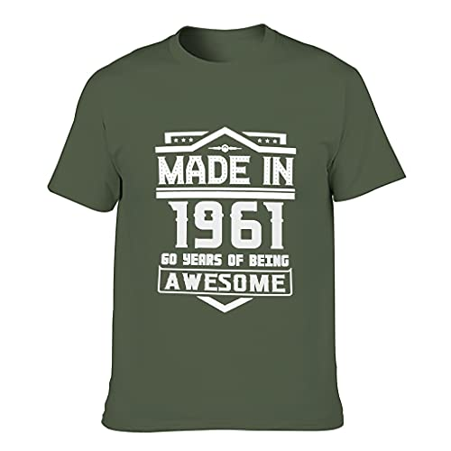 Camiseta de algodón para hombre, fabricada en el año 1961, elegante y cómoda, para el hogar verde militar XL